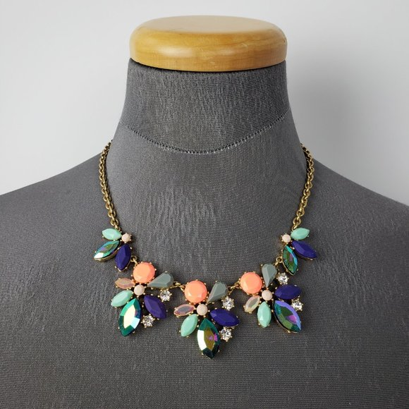 J. Crew Jewelry - J. Crew Gold Blue & Green Cut Glass Necklace